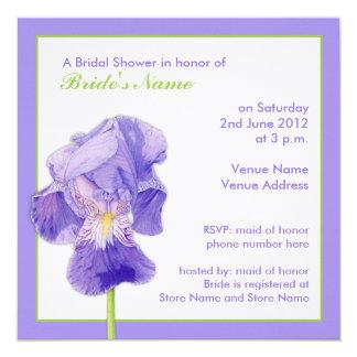 Invitación nupcial de la ducha del iris púrpura invitación 13,3 cm x 13,3cm