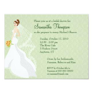 Invitación nupcial de la ducha del jade coqueto