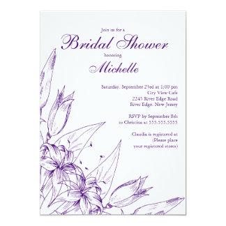 Invitación nupcial de la ducha del lirio púrpura invitación 12,7 x 17,8 cm