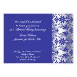 Invitación nupcial de la ducha del modelo azul del