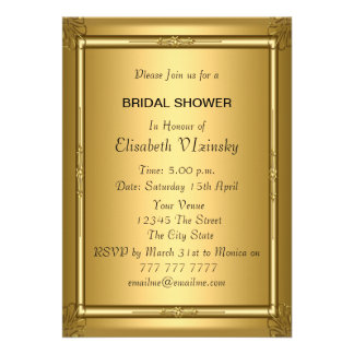 Invitación nupcial de la ducha del oro