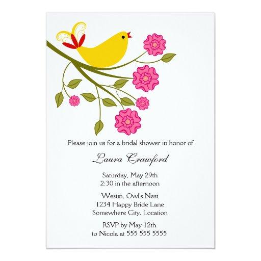 Invitación nupcial de la ducha del pájaro cantante