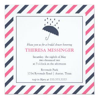 Invitación nupcial de la ducha del paraguas rayado
