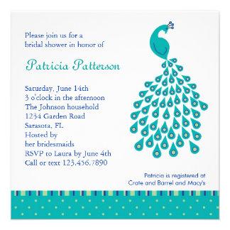 Invitación nupcial de la ducha del pavo real