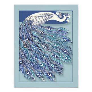 Invitación nupcial de la ducha del pavo real de