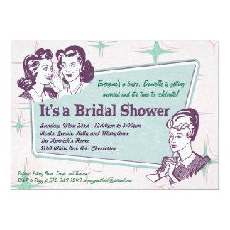 Invitación nupcial de la ducha del Peinado retro