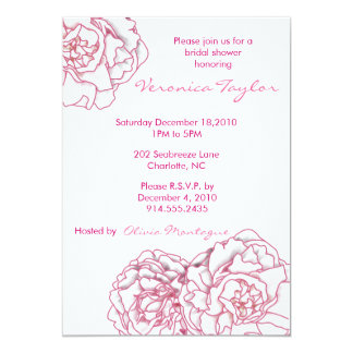 Invitación nupcial de la ducha del Peony rosado Invitación 12,7 X 17,8 Cm