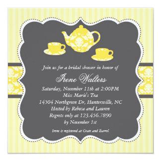 Invitación nupcial de la ducha del pote del té