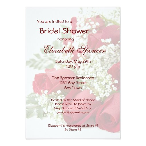 Invitación nupcial de la ducha del ramo de los invitación 12,7 x 17,8 cm
