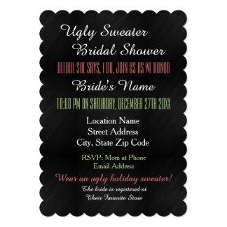 Invitación nupcial de la ducha del suéter feo