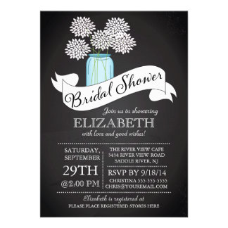 Invitación nupcial de la ducha del tarro de albañi
