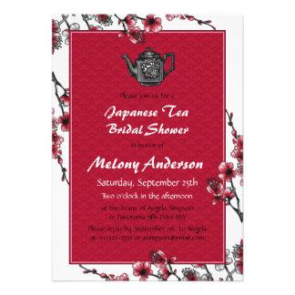 Invitación nupcial de la ducha del té japonés negr