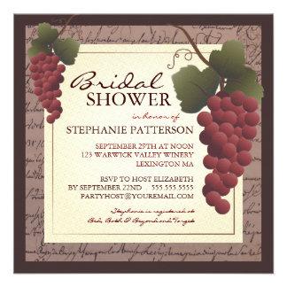 Invitación nupcial de la ducha del vino de la vid