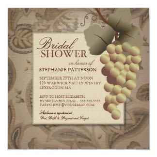 Invitación nupcial de la ducha del vino de la vid invitación 13,3 cm x 13,3cm