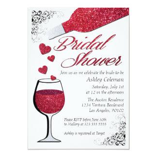 Invitación nupcial de la ducha del vino del brillo