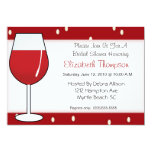 Invitación nupcial de la ducha del vino rojo