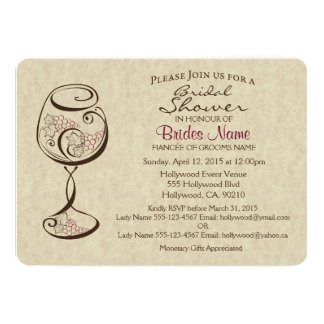 Invitación nupcial de la ducha del vino y del