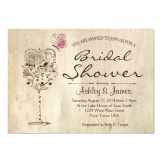 Invitación nupcial de la ducha del vino y del invitación 12,7 x 17,8 cm