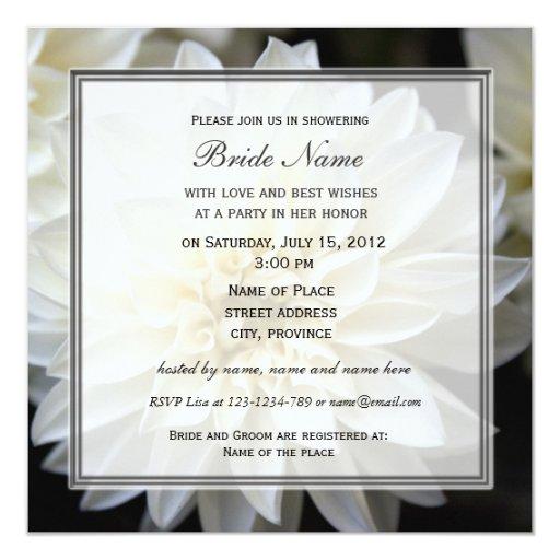 Invitación nupcial de la ducha, flor blanca de la
