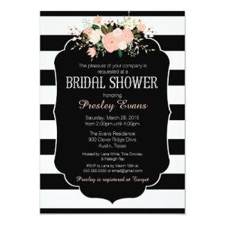 Invitación nupcial de la ducha, negro floral y