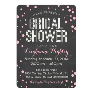 Invitación nupcial de la ducha - pizarra y confeti invitación 12,7 x 17,8 cm
