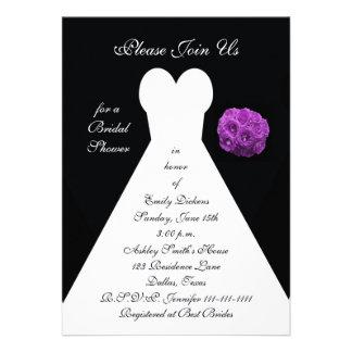 Invitación nupcial de la ducha -- Púrpura del vest