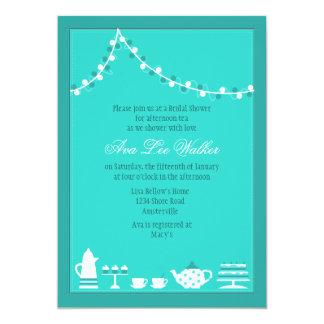 Invitación nupcial de la fiesta del té invitación 12,7 x 17,8 cm
