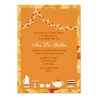 Invitación nupcial de la fiesta del té de la caída