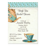 Invitación nupcial de la fiesta del té de la ducha invitación 12,7 x 17,8 cm
