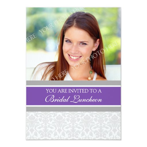 Invitación nupcial del alumerzo de la foto gris