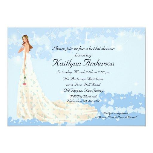 Invitación nupcial del azul de la ducha de la invitación 12,7 x 17,8 cm