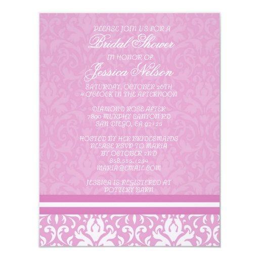 Invitación nupcial del damasco rosa claro floral