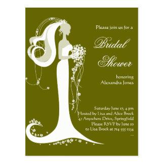 Invitación nupcial del fiesta de ducha de la novia postal