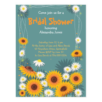 Invitación nupcial del fiesta de ducha del girasol postal