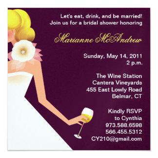 invitación nupcial del vino sin la flor invitación 13,3 cm x 13,3cm