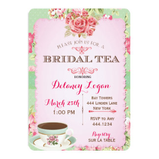 Invitación nupcial elegante lamentable del té de