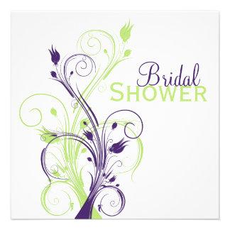 Invitación nupcial floral blanca verde púrpura de