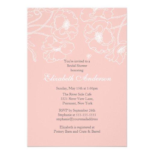 Invitación nupcial floral de la ducha de la amapol