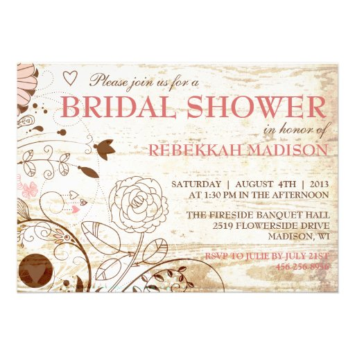 Invitación nupcial floral de la ducha del vintage