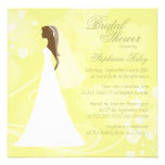 Invitación nupcial floral elegante amarilla de la