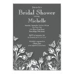 Invitación nupcial floral gris moderna de la ducha
