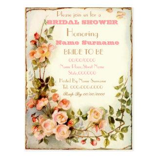 invitación nupcial floral linda de la ducha postal