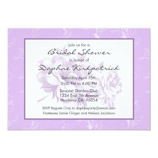 Invitación nupcial floral púrpura de la ducha del