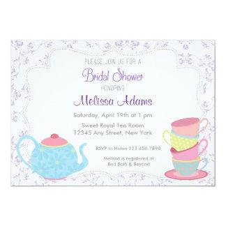 Invitación nupcial floral púrpura de la fiesta del