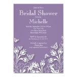 Invitación nupcial floral púrpura moderna de la