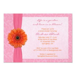 Invitación nupcial floral rosada anaranjada de la