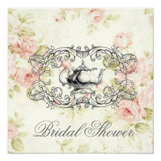 Invitación nupcial floral rosada de la fiesta del invitación 13,3 cm x 13,3cm