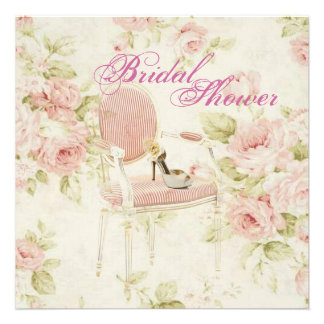 Invitación nupcial floral rosada de la fiesta del