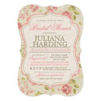 Invitación nupcial floral verde rosada de la ducha invitación 12,7 x 17,8 cm