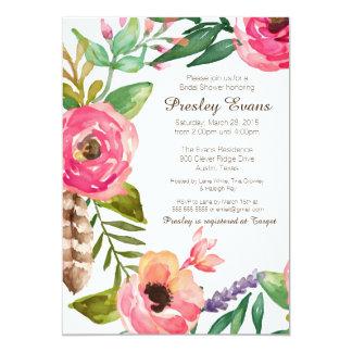 Invitación nupcial floral y de la pluma II de la Invitación 12,7 X 17,8 Cm